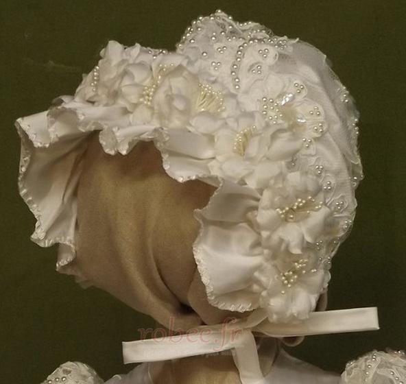 Robe de fille de fleur Manche Aérienne Naturel taille Princesse 2
