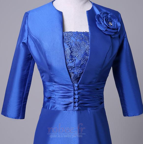 Robe mères Bleu Fer à cheval Fleurs Maigre Formelle Taffetas 5