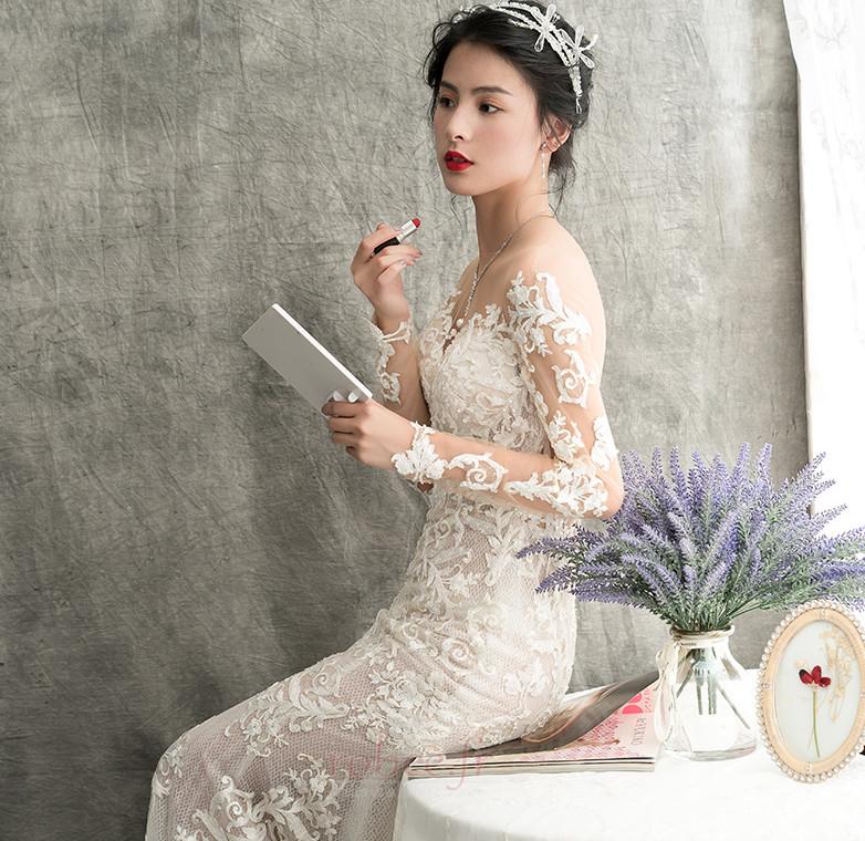 Robe de mariée Sirène Dos nu Plage Sexy Couvert de Dentelle Satin 4
