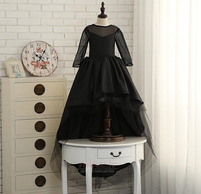Robe de fille de fleur Elégant Manquant Satin Automne Col de chemise t 1
