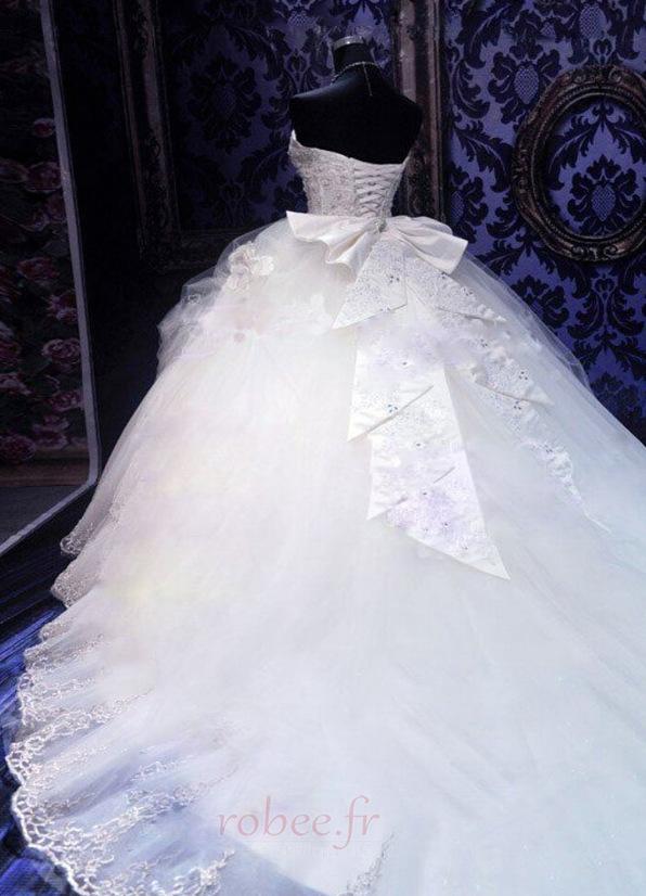 Robe de mariée Tulle Col en Cœur Eglise Sans Manches Ancien Cristal 3