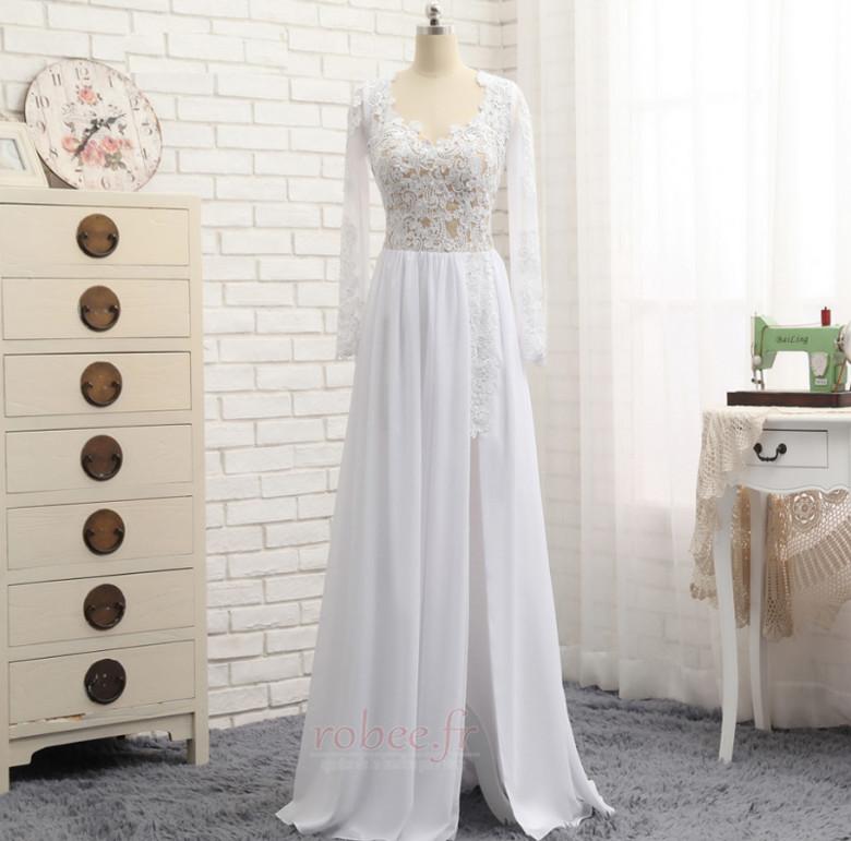 Robe de mariée A-ligne Longueur de plancher Manche Longue Plage 1