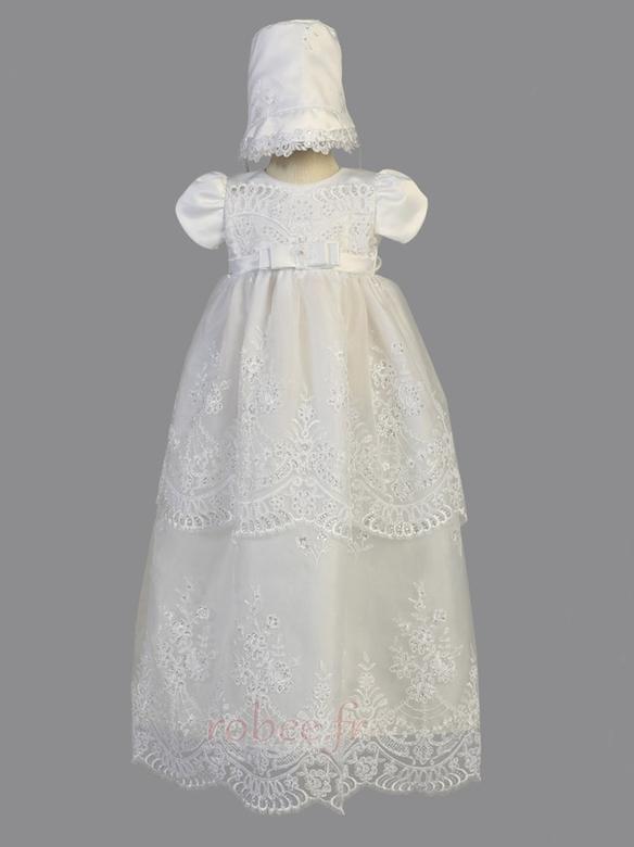 Robe de fille de fleur Chapeau Organza Naturel taille Blanc Petit collier circulaire 1