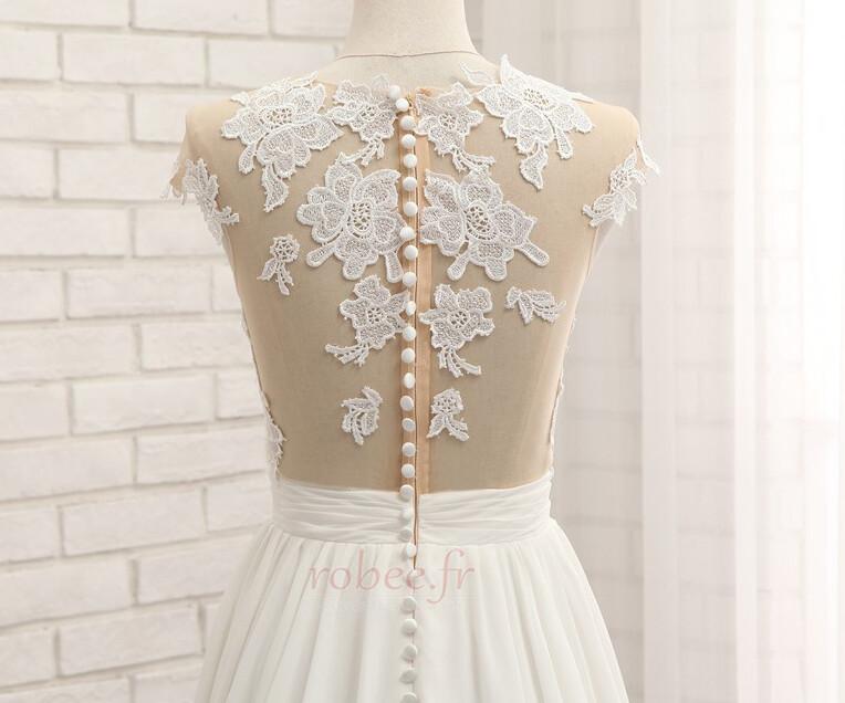 Robe de mariage Traîne Courte Fourchure Frontale Petit collier circulaire 6