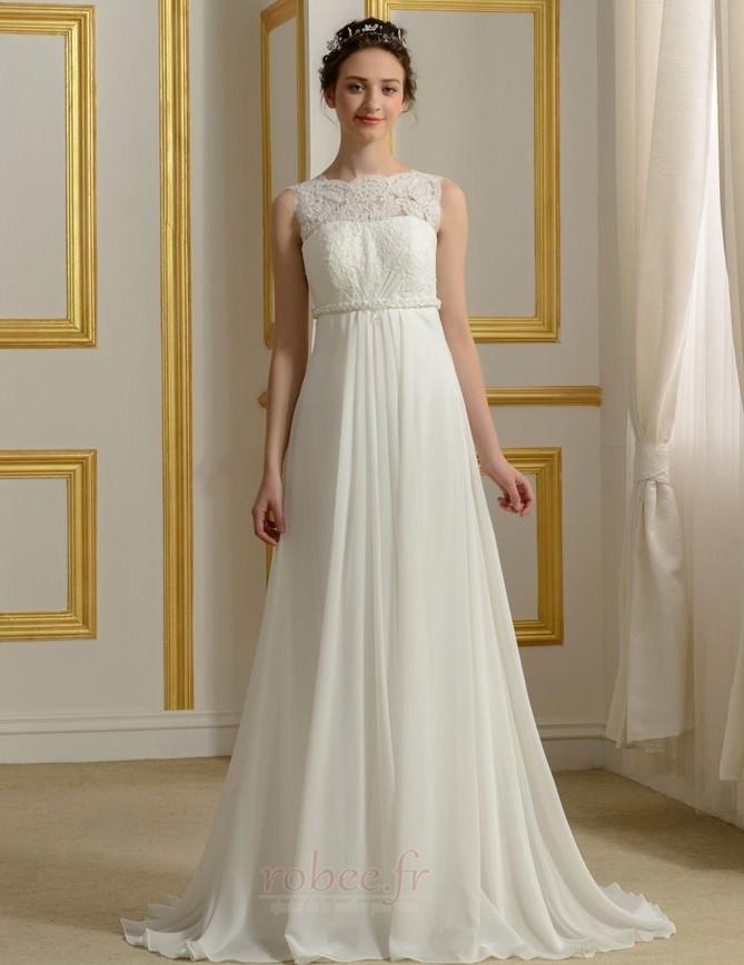 4bcc0ad8826 Robe de mariage Mousseline Empire Taille haute Couvert de Dentelle 1 ...