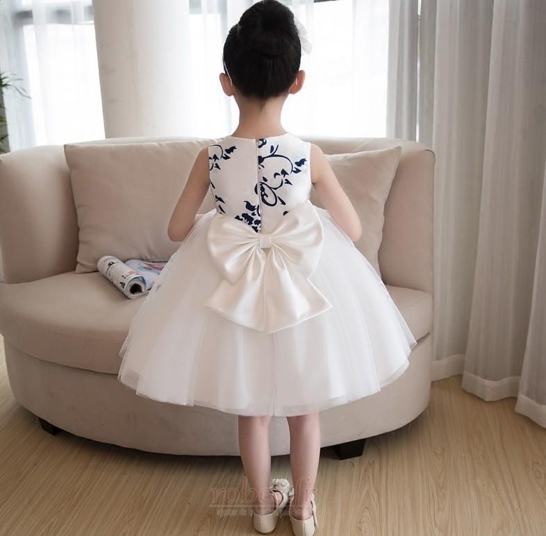 Robe de fille de fleur aligne Satin Printemps Longueur de genou 2