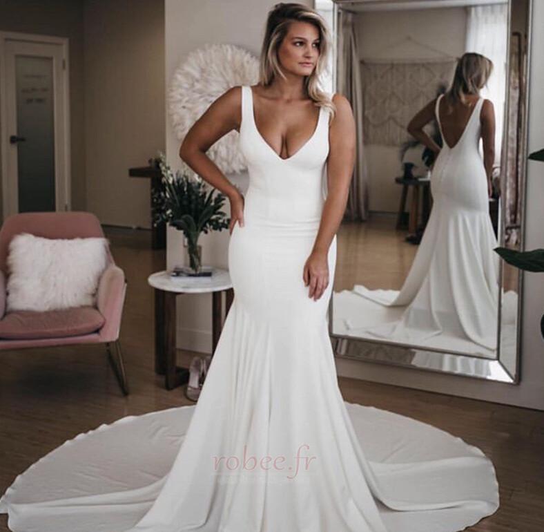 Robe de mariée Sirène Été Dos nu Col en V Petites Tailles De plein air 1