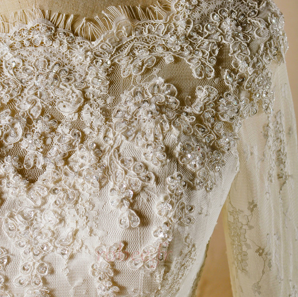 Robe de mariage Glissière Chapelle Formelle Traîne Courte Naturel taille 3