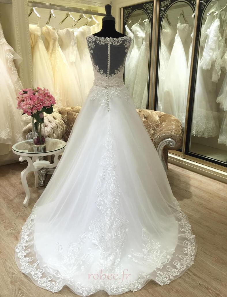 Robe de mariée Appliquer Satin Col Bateau Printemps Formelle 2