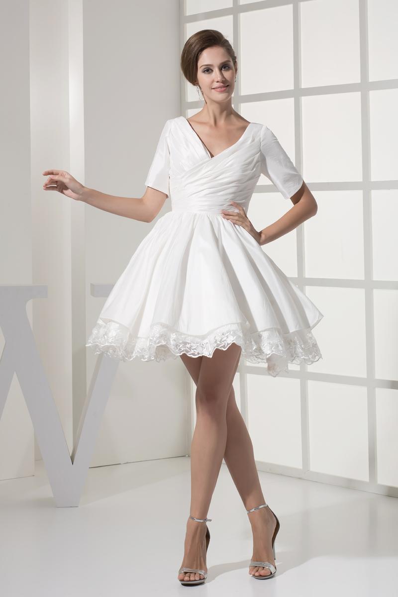 Robe de mariée Courte Haute Couvert Col en V Foncé Naturel taille 1