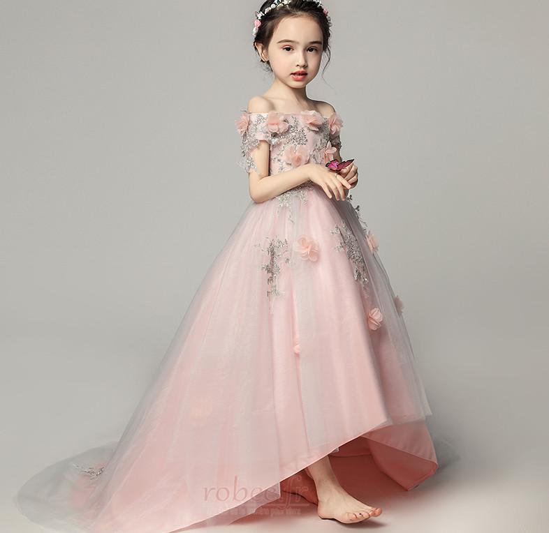 Robe de fille de fleur Satin Fleurs Été Fermeture à glissière 4