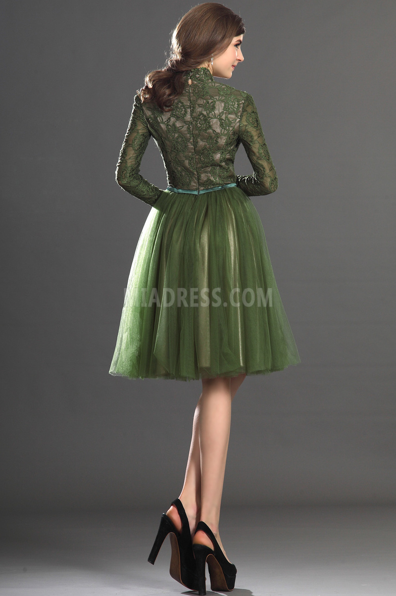 Robe de bal Dentelle Longueur de genou Épaule de la reine Glamour 6
