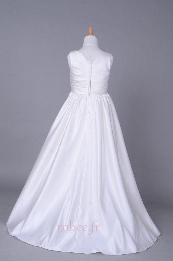 Robe de fille de fleur Corsage plissé Blanche Fermeture à glissière 3
