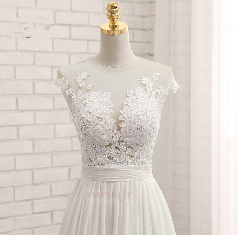 Robe de mariage Traîne Courte Fourchure Frontale Petit collier circulaire 5
