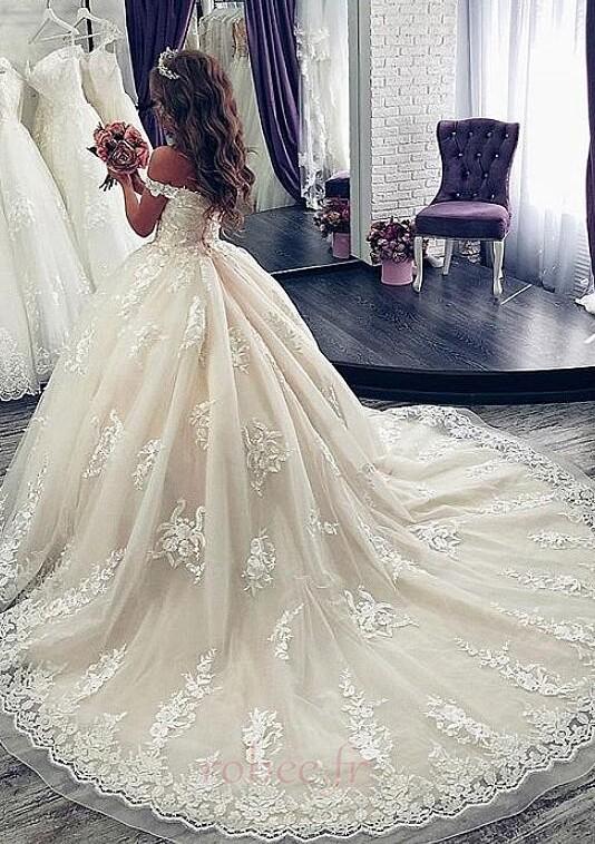 Robe de mariée Manche Courte Luxueux A-ligne Poire Dentelle Dos nu 2