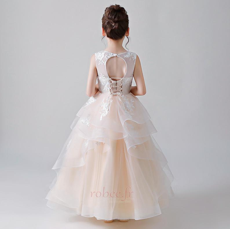 Robe de fille de fleur Satin Multi Couche a ligne Mariage Été 2