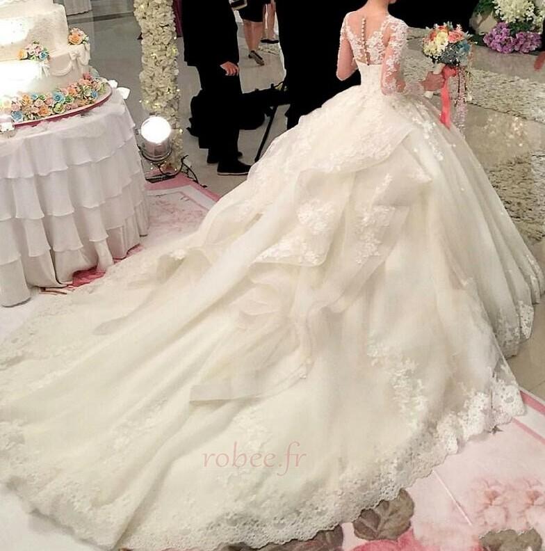 Robe de mariée Fermeture éclair Hiver Soie Dentelle Manquant 2