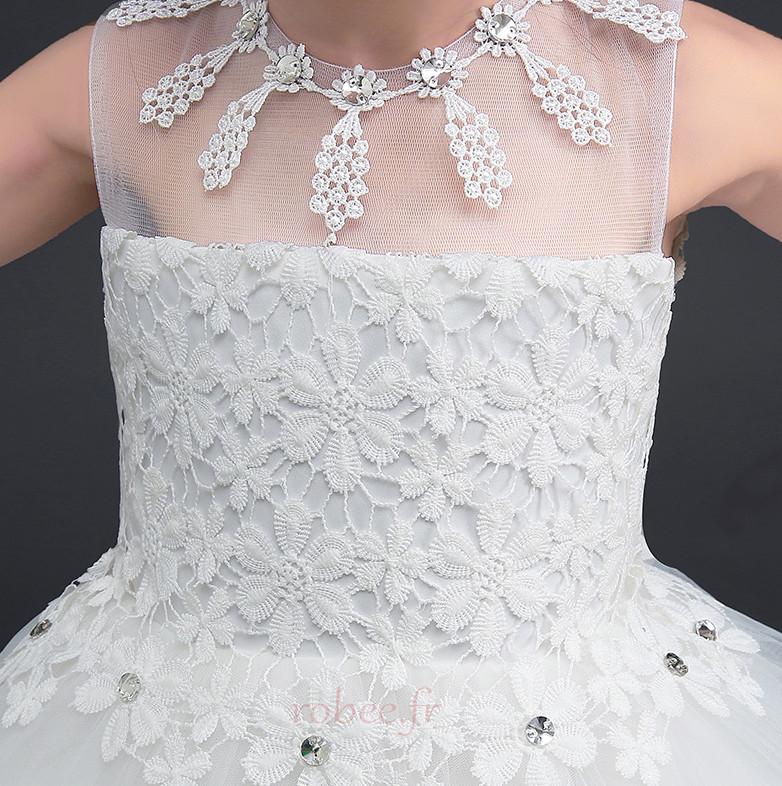 Robe de fille de fleur Longue Sans Manches Petit collier circulaire 4