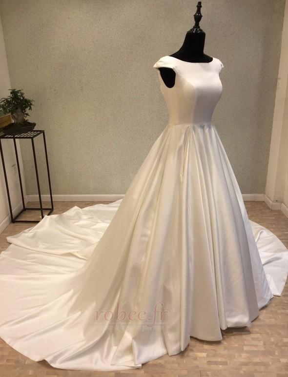 Robe de mariée Manche Courte Satin Trou De Serrure Col Bateau 2