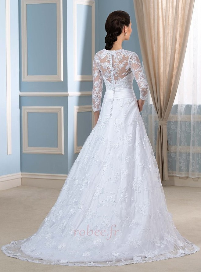 Robe de mariée Formelle Satin Chapelle Col en V Fermeture à glissière 2
