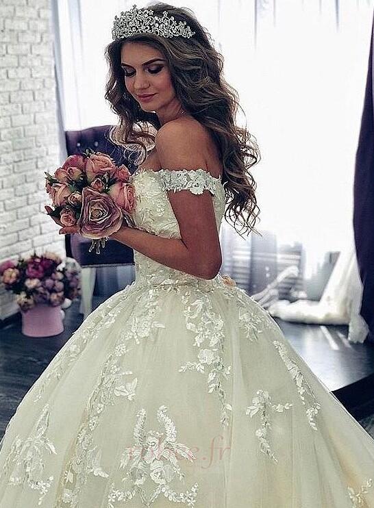 Robe de mariée Manche Courte Luxueux A-ligne Poire Dentelle Dos nu 4