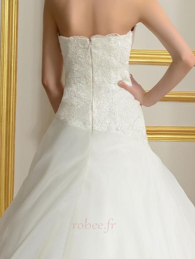 Robe de mariée Sans courroies Été A-ligne Organza Naturel taille 5