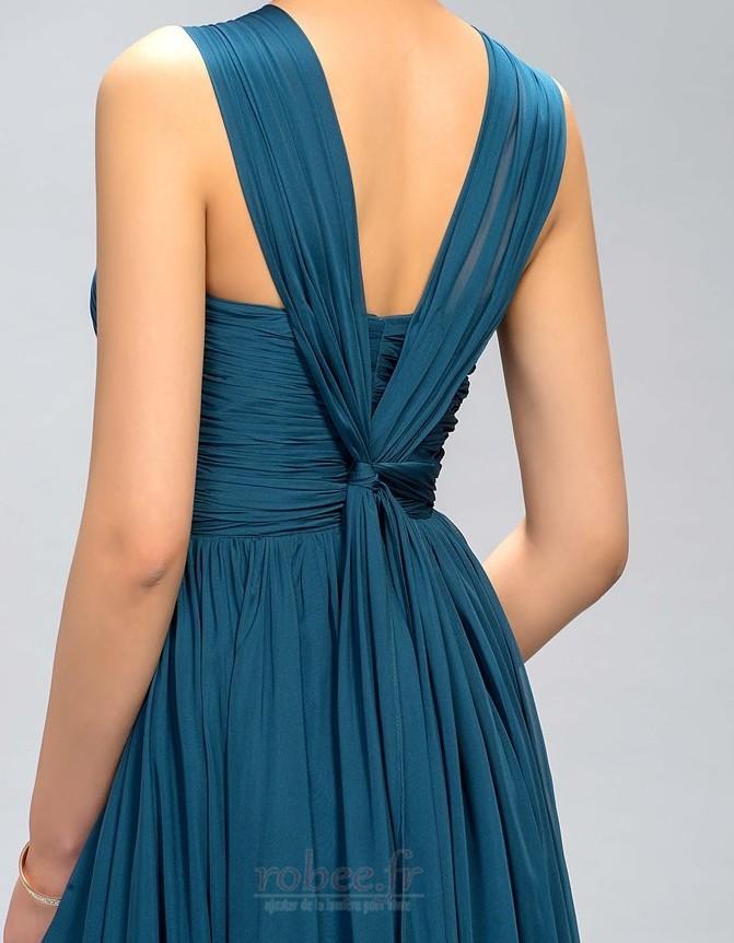 Robe de demoiselle d'honneur A-ligne Corsage plissé Elégant 5