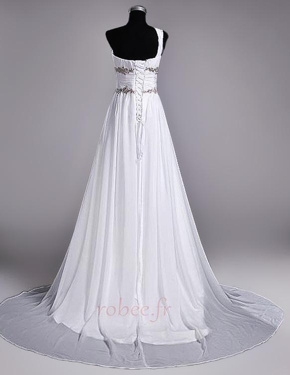Robe de mariage Fourreau plissé Drapé Une épaule A-ligne Mousseline 4