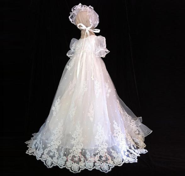 Robe de fille de fleur Dentelle Longue Princesse Chapeau Bébé 1