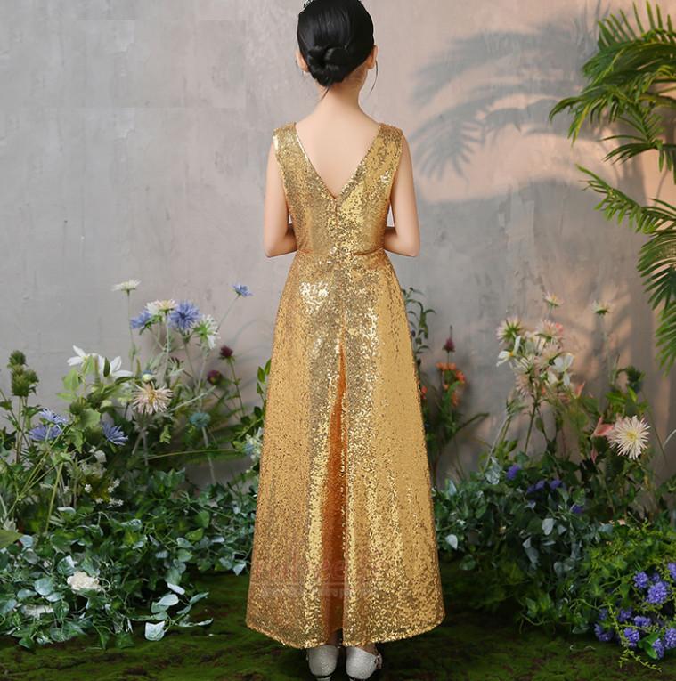 Robe de fille de fleur Col en V Pailleté Naturel taille Elégant 2