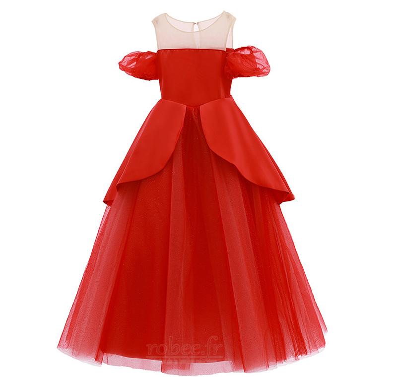 Robe de fille de fleur Tulle A-ligne Rosée épaule Trou De Serrure 5