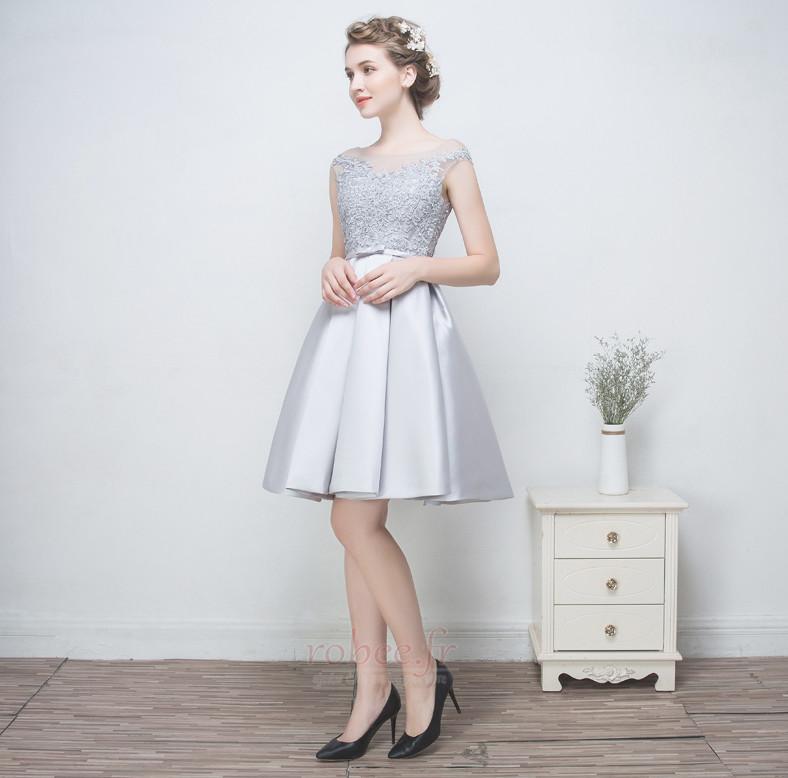 Robe de demoiselle d'honneur a ligne Mariage Sans Manches Appliquer 4