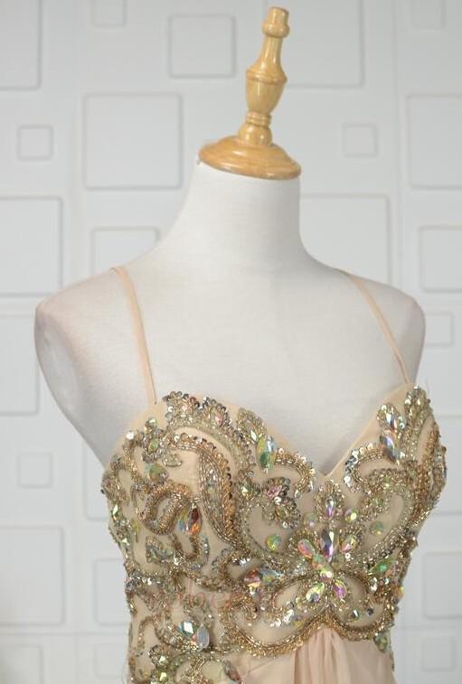 Robe de soirée Luxueux Mousseline Corsage Avec Bijoux Drapé Naturel taille 4