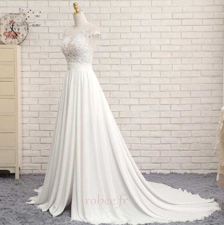 Robe de mariage Traîne Courte Fourchure Frontale Petit collier circulaire 4