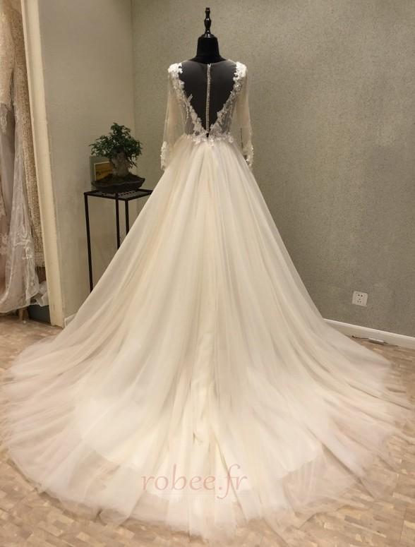 Robe de mariée Tulle Ample & Ornée Gaze Été Traîne Moyenne A-ligne 2