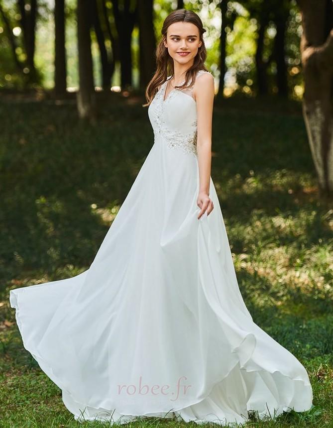 Robe de mariée Dos nu Col en V Drapé Sans Manches aligne De plein air 2