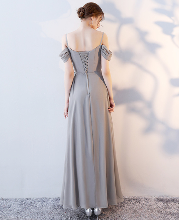 Robe de demoiselle d'honneur Laçage Sans Manches Mousseline A-ligne 4