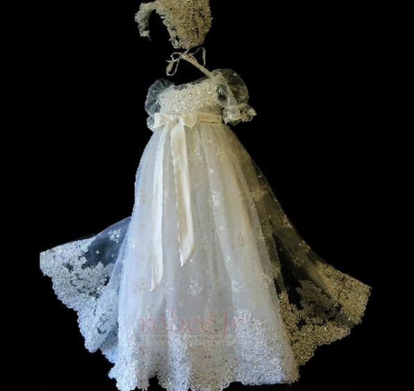 Robe de fille de fleur Princesse Cérémonie Petit collier circulaire 1