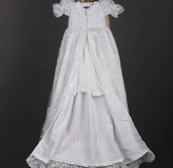 Robe de fille de fleur Dentelle Manche Courte Lanterne Princesse 1