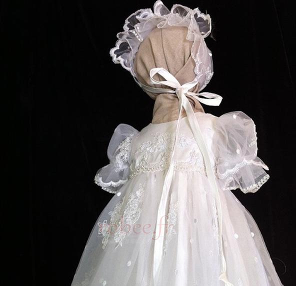 Robe de fille de fleur Dentelle Longue Princesse Chapeau Bébé 3