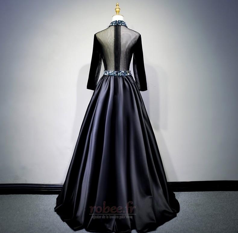 Robe de bal Fermeture éclair Montrer Luxueux A-ligne Col en V Foncé 8