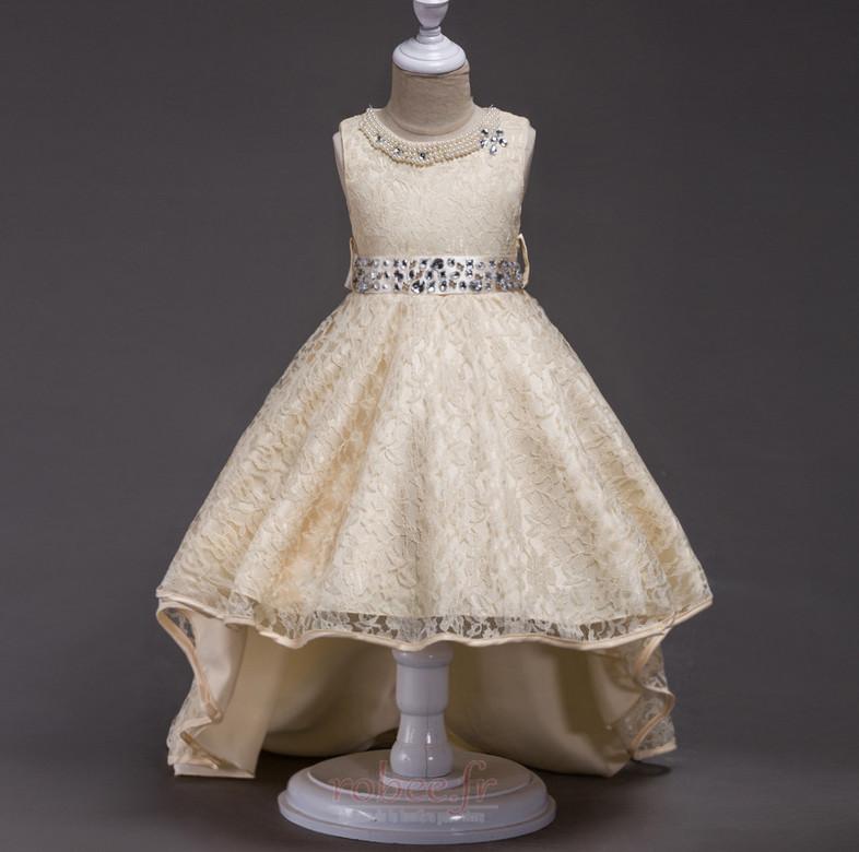 Robe de fille de fleur Col de chemise t Satin Mode Sans Manches 3