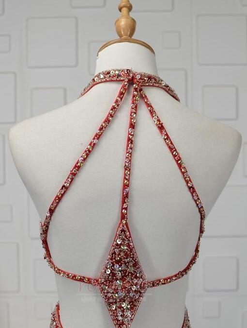Robe de bal Dos nu Triangle Inversé Été Fourreau plissé Perle 5