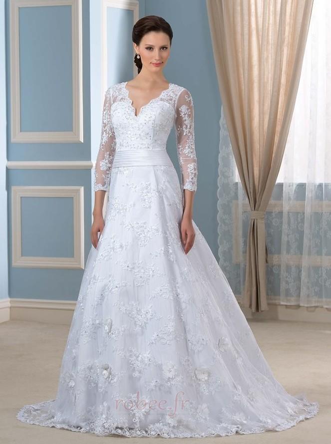 Robe de mariée Formelle Satin Chapelle Col en V Fermeture à glissière 1