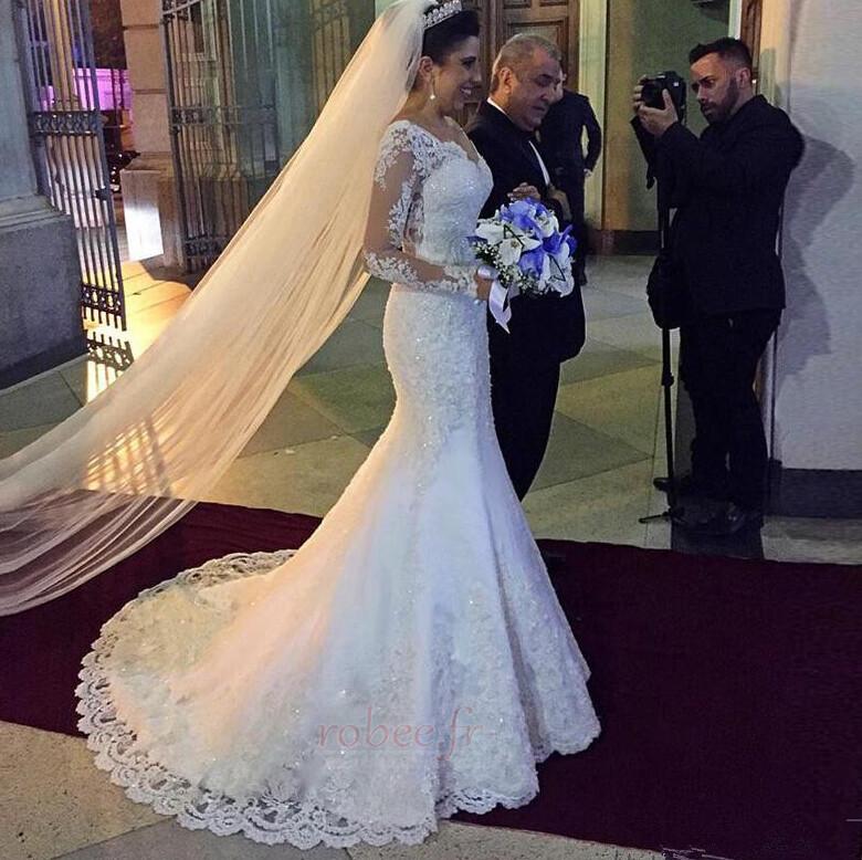 Robe de mariée Sirène Col en V Dos nu Dentelle Manche Aérienne 2