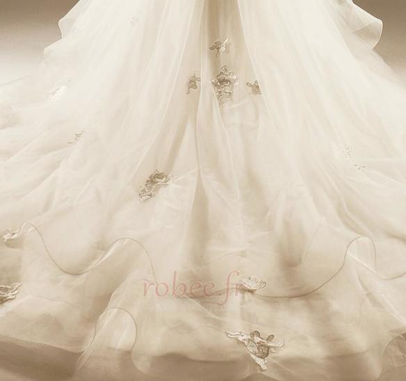 Robe de mariée Princesse Lacez vers le haut Tulle Eglise Col en Cœur 7