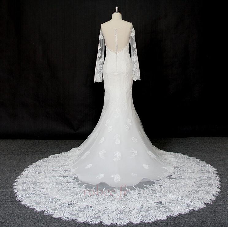 Robe de mariée Manche Longue Dentelle Eglise Col Bateau Formelle 2