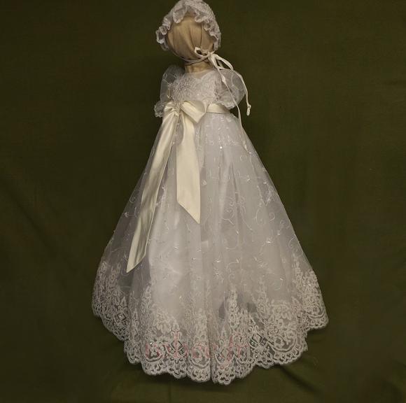 Robe de fille de fleur Princesse Dentelle Cérémonie Ceinture en Étoffe 1