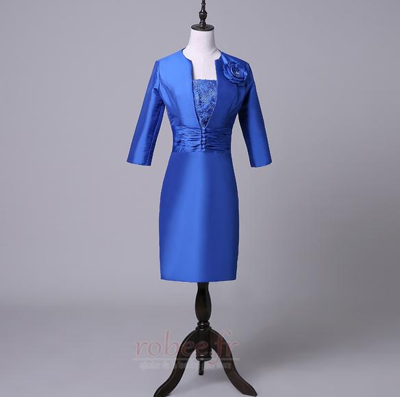 Robe mères Bleu Fer à cheval Fleurs Maigre Formelle Taffetas 1
